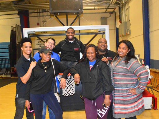 """Members Delaware Housing & Residential Education at Delaware State University have been a big part of planning and making sure the """"Justice Foe All"""" basketball tournament is a go. From left are: Arman Thompson, Ariel Randall, Edgar Ortiz, Robert Price, Ayana Poindexter, Phillip Holmes (director) and Calah Smith."""