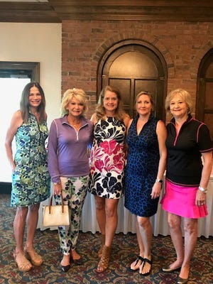 Models Casey, Sharon,  Nancy, Susan, and Linda at Fashion Show.