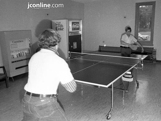 Two young men play a game of ping-pong in the entertainment room at the new YMCA in Lafayette. Over 3,000 people toured the new facility, just north of the Tippecanoe County 4-H Fairgrounds. Photo taken Oct. 22, 1970.