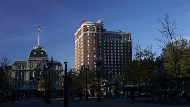 The Graduate Hotel -- at right, next to Providence City Hall -- has been closed since March, with no date set for reopening.