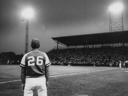 Joe Altobelli coaches third base at Silver Stadium in this undated photo.