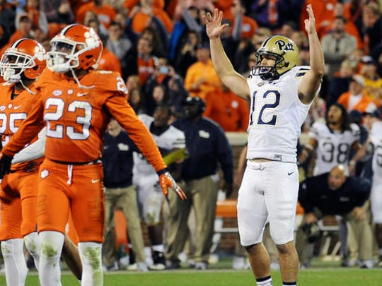 Pittsburgh place kicker Chris Blewitt (12) celebrates after kicking the game-winning field goal in an NCAA college football game against Clemson on Saturday, Nov. 12, 2016, in Clemson, S.C. Pittsburgh won 43-42.