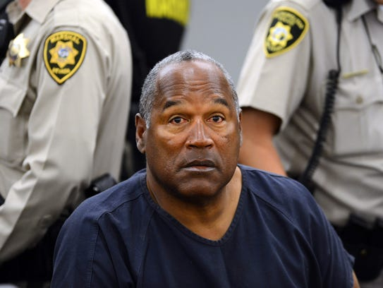 O.J. Simpson sits during a hearing in Clark County