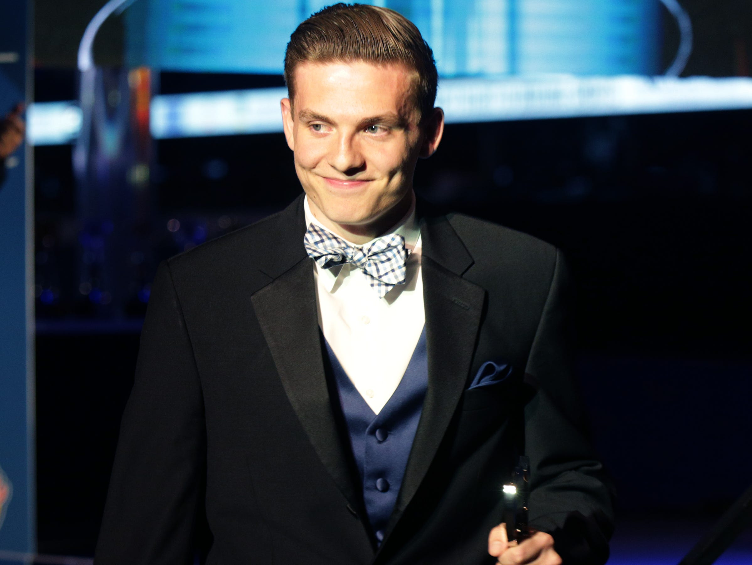 Kyle Guy, of Lawrence Central High School, accepts his award for Mr. Indiana Basketball. IndyStar held the Indiana Sports Awards, Thursday, April 28, 2016 at Lucas Oil Stadium where they honored the outstanding accomplishments of 200+ high school athletes in 28 sports. The featured guest speaker was Indianapolis Colts' quarterback Andrew Luck. The evening's host was WNBA Indiana Fever Head Coach Stephanie White. Celebrity presenters included Indiana Fever All-Star Tamika Catchings, IndyCar driver Ed Carpenter and IndyStar's own sports columnist Gregg Doyel.