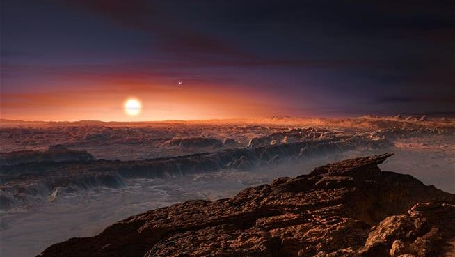 This artist rendering shows a view of the surface of the planet Proxima B. It's relatively close and might be able to sustain life.