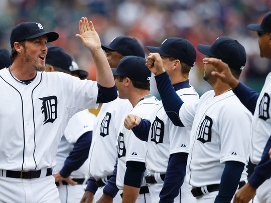 Detroit Tigers relief pitcher Joe Nathan (36) during player introductions before a game against the Minnesota Twins on April 6, 2015, at Comerica Park.