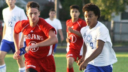 Garden City's Maxwell Frederick, pictured during a match last season, scored twice in the Cougars' victory over Romulus.