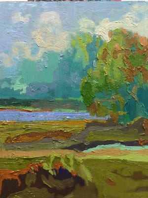 This untitled Jane Schmidt painting is one of the works stolen from Riverview Station.