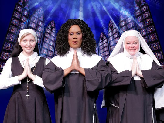 """Tricia Arvanis, Alexandra St. James-Gray and Melissa Kellar make some joyful noise in """"Sister Act"""" at the Des Moines Community Playhouse."""
