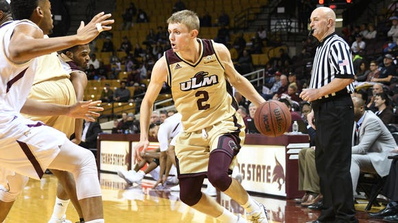 True freshman point guard Michael Ertel's (2) scoring down the stretch opened up the floor in the final month of the regular season. Sam McDaniel and Travis Munnings shot 41 percent from the 3-point line in ULM's eight wins in 11 games.