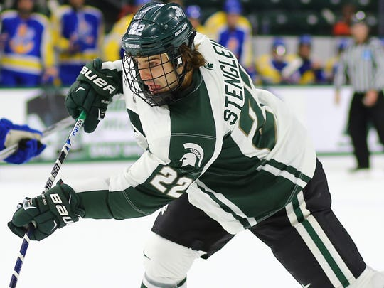 Junior forward J.T. Stenglein was fourth in scoring for Michigan State heading into the weekend.