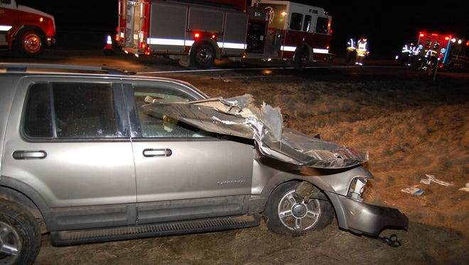 A man was severely injured Friday morning when the SUV he was driving struck a semi on State 29 in the Clark County town of Thorp.