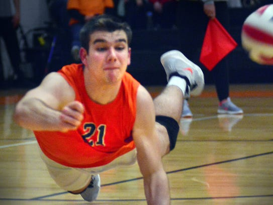 Northeastern senior Cole Brillhart, above, was named the Brad Livingston MVP of the Koller Classic boys' volleyball tournament Saturday at Central York High School. DISPATCH FILE PHOTO