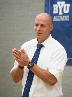 Brigham Young University assistant head football coach Ed Lamb speaks about offseason progress at an alumni meeting in Cedar City Thursday, July 26, 2018.