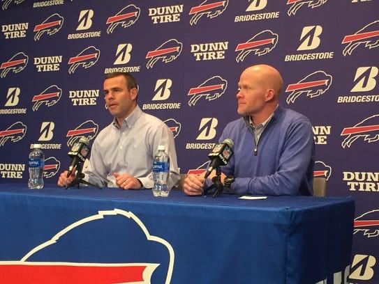Brandon Beane, left, and Sean McDermott, wrap up the