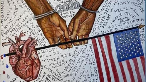 """The Names of America's Betrayed,"" an intricate drawing created by 15-year-old Kaia M. from Avenues: The World School in New York. This piece encompasses a Black person's hands in chains with the year ""2020"" while holding a stick with the American flag on one side and a human heart on the other surrounded by names. At Art & Action for Ahmaud event at Savannah State University."