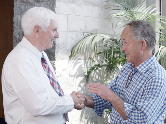 "U.S. Rep. John ""Jimmy"" Duncan shakes the hand of state Rep. Jimmy Matlock, R-Lenoir City. Duncan announced his endorsement for Matlock on May 15, 2018."