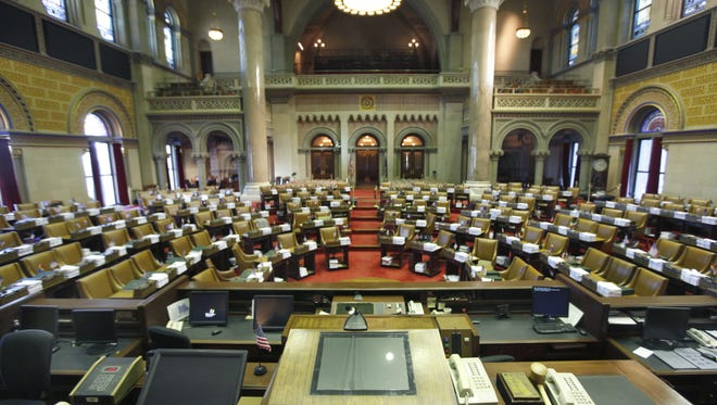 The Assembly Chambers inside the New York State Capitol Building in Albany.