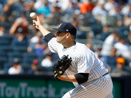 New York Yankees Lance Lynn pitches during fourth inning