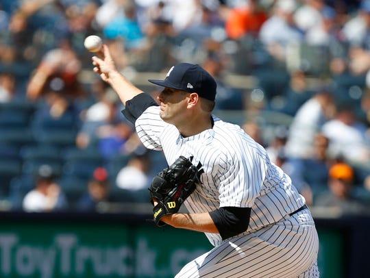 Aug 1, 2018; Bronx, NY, USA;  New York Yankees Lance