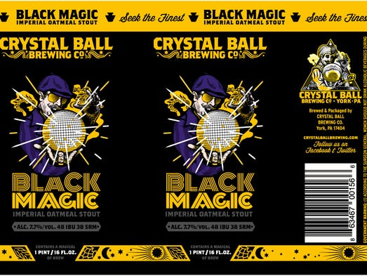 Crystal Ball Brewing's Black Magic label, designed