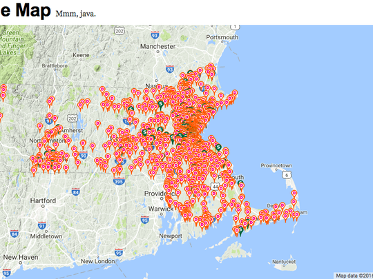 Map of Dunkin Donuts in Boston area.