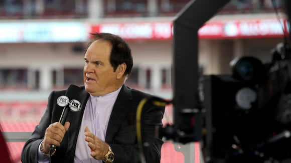 Pete Rose on the FOX Sports set before the Home Run