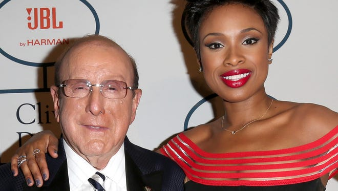 Clive Davis and Jennifer Hudson attend the Grammys pre-party.