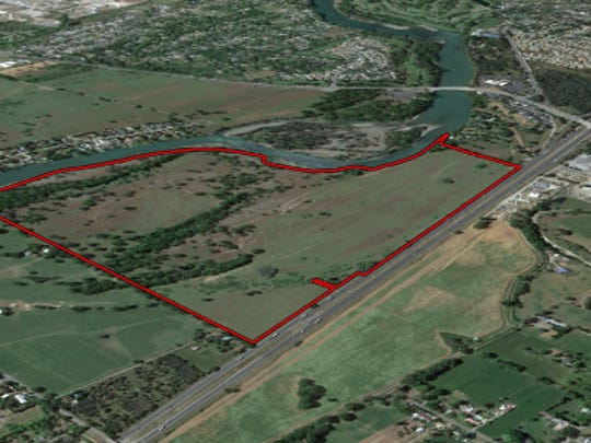 This map shows the property along Interstate 5 south of Redding where the Redding Rancheria wants to build a new casino.