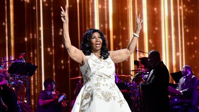 """Aretha Franklin performs  during the """"Clive Davis: The Soundtrack of Our Lives"""" premiere concert on April 19, 2017, in New York City."""