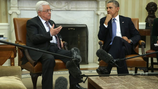 President Obama and Palestinian President Mahmoud Abbas meet on March. 17.