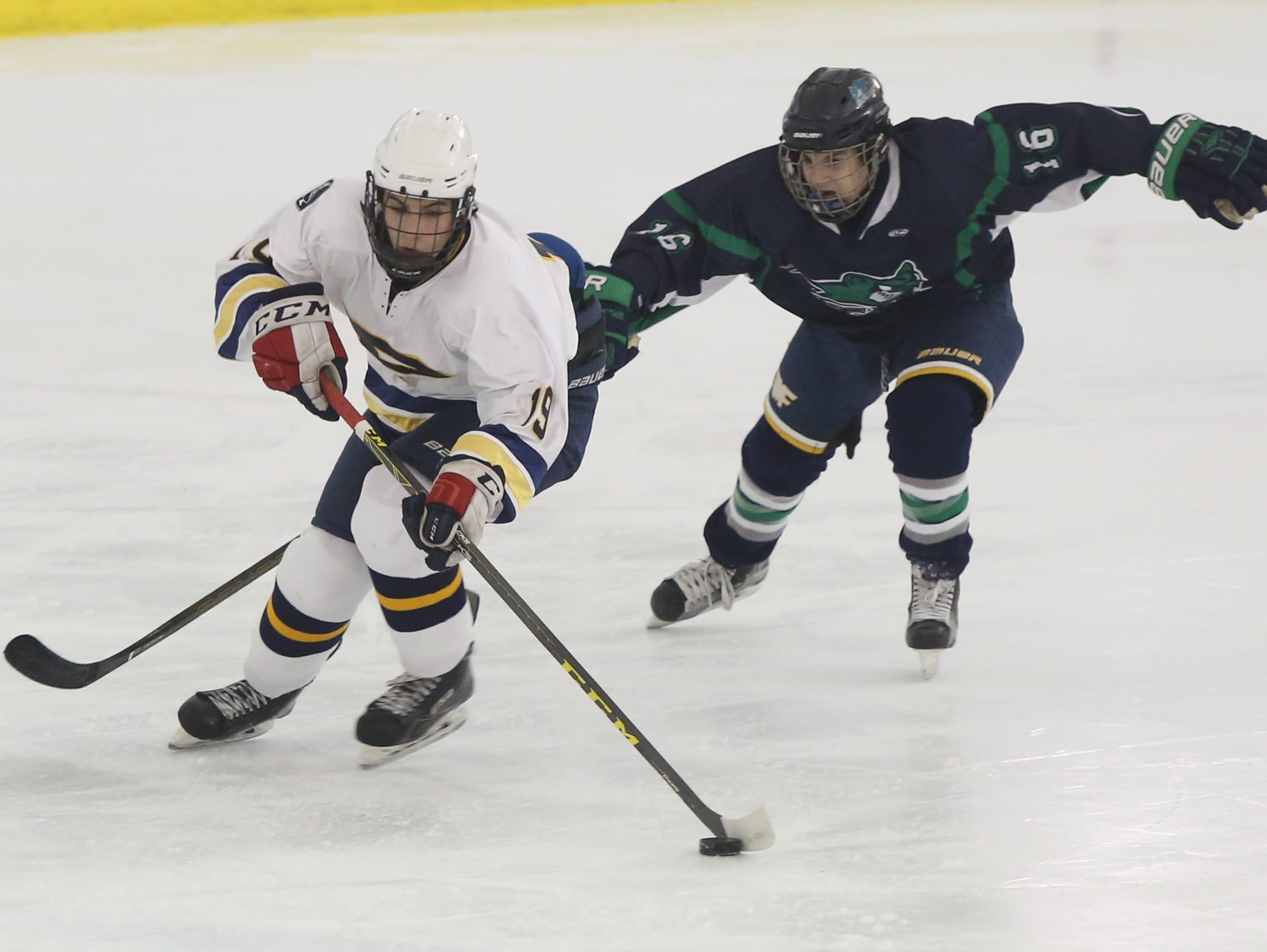 Pelham plays Mt. Pleasant during ice hockey Section 1 Division 2 quarterfinal at the Ice Hutch in Mount Vernon Feb. 24, 2016.