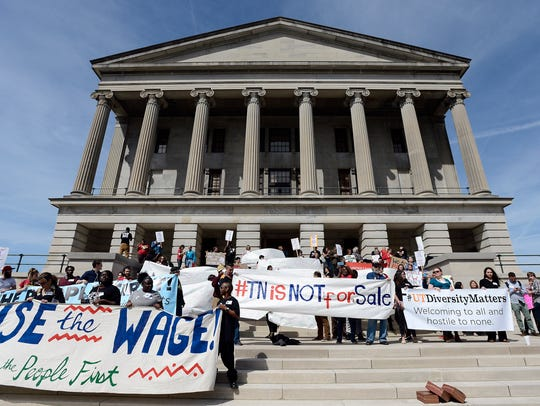 Participants protest outside the Tennessee State Capitol