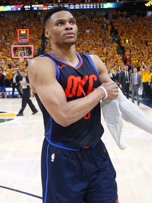 Oklahoma City Thunder guard Russell Westbrook walks off the court after his team's 96-91 Game 6 loss to the Utah Jazz.
