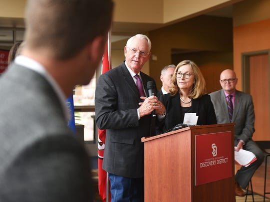 SAB Biotherapeutics president and CEO Eddie Sullivan and SAB co-founder and board member Christine Hamilton speak at a press conference Monday, June 4, during the presentation of the first building project at the district at USD Graduate Education and Applied Research Center in Sioux Falls.