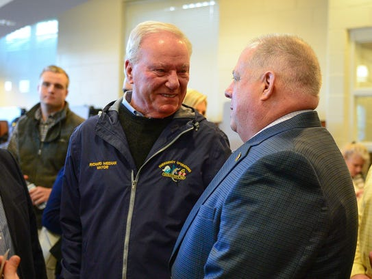 Ocean City Mayor Richard Meehan talks to Governor Larry
