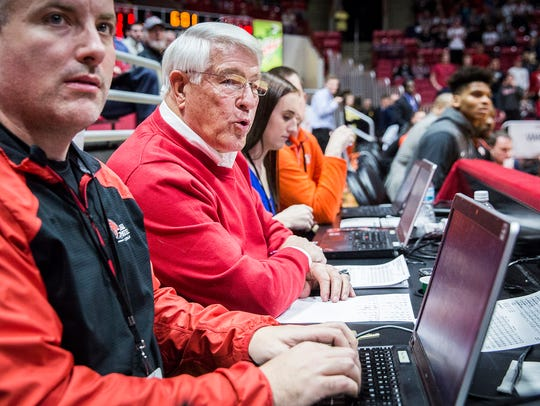 Ed Shipley takes stats during Ball State's game against