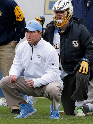 Coach Joe Amplo and the Golden Eagles will face Notre Dame in a first-round lacrosse NCAA game.