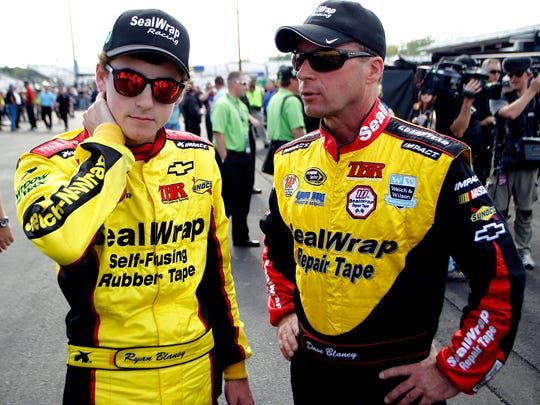 Ryan Blaney talks with his dad, NASCAR driver Dave