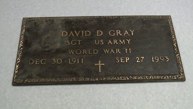 This military marker, designed for but apparently never placed on the grave of World War II veteran David Gray, prompted a probe by a Delaware County sheriff's investigator.