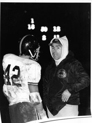 Coach Pete LaBarbiera Sr. talks to a Hasbrouck Heights' player in a game sometime in the 1970s. LaBarbiera, who passed away this past Thursday, coached at Hasbrouck Heights, Nutley and Paramus.
