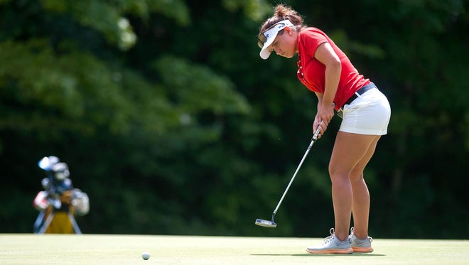 Miranda Milne rolls a birdie putt on the par-4 11th hole during the final round of the Vermont Women's Amateur at the Country Club of Barre on Wednesday.