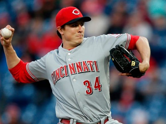 Cincinnati Reds starting pitcher Homer Bailey throws during the first inning of the team's baseball game against the Philadelphia Phillies, Tuesday, April 10, 2018, in Philadelphia. (AP Photo/Laurence Kesterson)