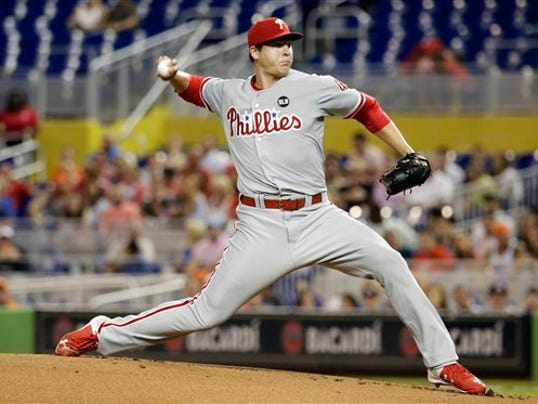 Philadelphia Phillies' starting pitcher Jerad Eickhoff excelled against the Miami Marlins on Friday.