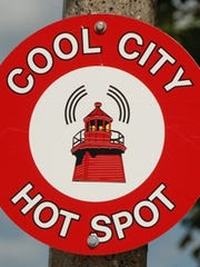 Cool City Hot Spot sign in Two Rivers.