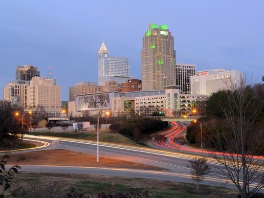 Dusk in downtown Raleigh, North Carolina.
