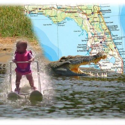 Water skiing babies and Nile crocodiles in Florida.