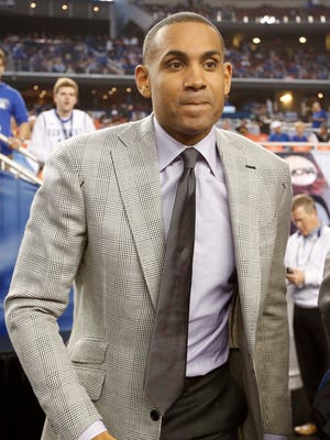 Grant Hill, shown April 7 at the Final Four, is a candidate to leave TV to become the Pistons' next general manager.