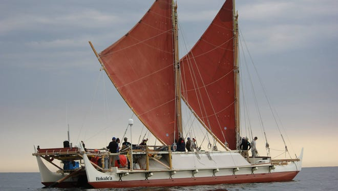 Hokule'a, a replica of a traditional Polynesian double-hulled canoe, visited Tangier on May 9, 2016.