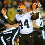 Nov 6, 2014; Cincinnati, OH, USA; Cleveland Browns running back Ben Tate (44) celebrates after scoring a touchdown during the first quarter against the Cincinnati Bengals at Paul Brown Stadium. Mandatory Credit: Andrew Weber-USA TODAY Sports